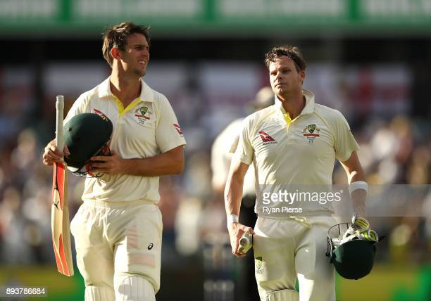 Steve Smith and Mitch Marsh of Australia leave the ground at stumps during day three of the Third Test match during the 2017/18 Ashes Series between...