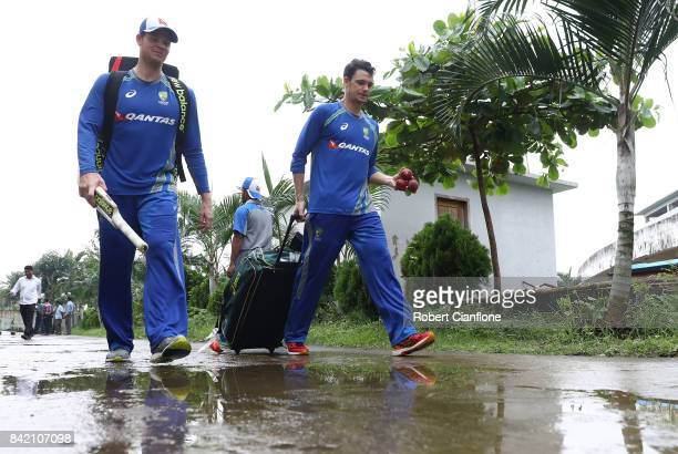 Steve Smith and Peter Handscomb of Australia are seen after an Australia nets session at Zahur Ahmed Chowdhury Stadium on September 3 2017 in...