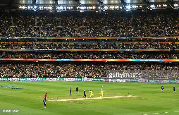 Steve Smith and Shane Watson of Australia celebrate after hitting the winning runs during the 2015 ICC Cricket World Cup final match between...