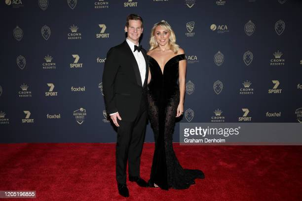 Steve Smith and wife Dani Willis arrive ahead of the 2020 Cricket Australia Awards at Crown Palladium on February 10 2020 in Melbourne Australia