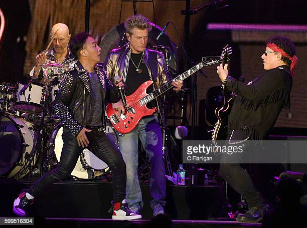 Steve Smith Arnel Pineda Ross Valory and Neal Schon of Journey perform during the San Francisco Fest 2016 On The Green at ATT Park on September 4...