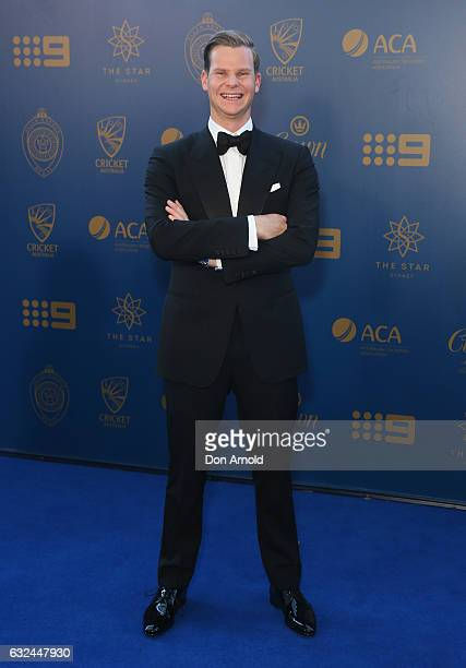 Steve Smith arrives ahead of the Allan Border Medal at on January 23 2017 in Sydney Australia