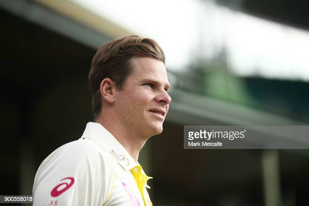 Steve Smith arrives for an Australian nets session at Sydney Cricket Ground on January 2 2018 in Sydney Australia Steve Smith