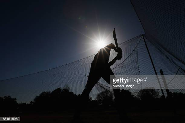 Steve Smith bats in the nets during day two of the Australian Test cricket intersquad match at Marrara Cricket Ground on August 15 2017 in Darwin...