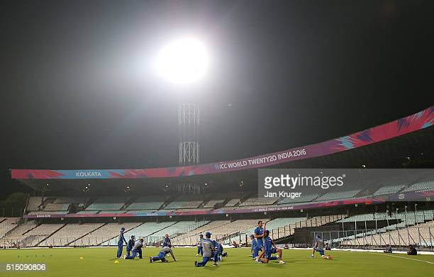 Steve Smith Captain of Australia and his team take part in training at Eden Gardens on March 12 2016 in Kolkata India