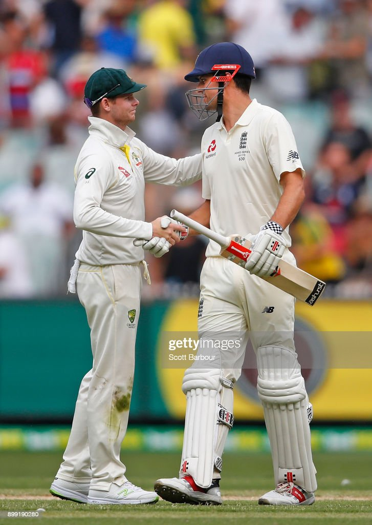Steve Smith, captain of Australia shakes hands and is congratulates Alastair Cook of England as he leaves the field after the final ball of day three of the Fourth Test Match in the 2017/18 Ashes series between Australia and England at Melbourne Cricket Ground on December 28, 2017 in Melbourne, Australia.
