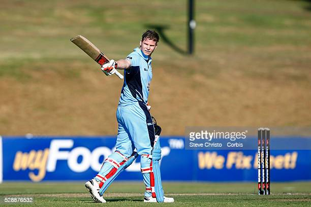 Steve Smith captain of the Blues celebrates his century against the Bulls during the Matador BBQ's OneDay Cup between New South Wales Blues and...