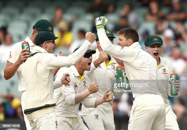 Steve Smith David Warner Tim Paine and Peter Handscomb of Australia celebrate after Nathan Lyon of Australia claimed the wicket of Alastair Cook of...
