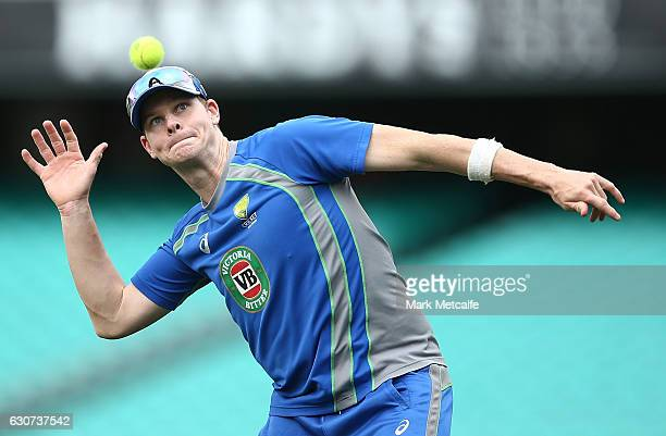 Steve Smith in action during an Australian training session on January 1 2017 in Sydney Australia