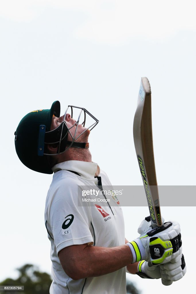 Steve Smith looks up to the sky as he walks out to bat during day three of the Australian Test cricket inter-squad match at Marrara Cricket Ground on August 16, 2017 in Darwin, Australia.
