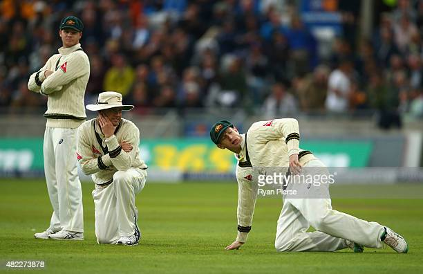 Steve Smith Michael Clarke and Adam Voges of Australia look on during day one of the 3rd Investec Ashes Test match between England and Australia at...