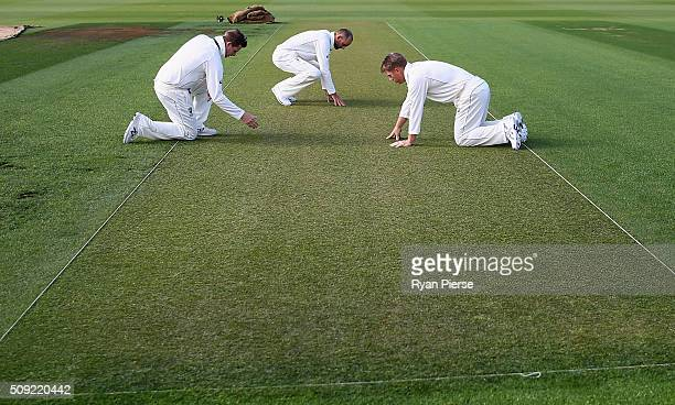 Steve Smith Nathan Lyon and David Warner of Australia inspect the wicket during an Australian nets session at Basin Reserve on February 11 2016 in...