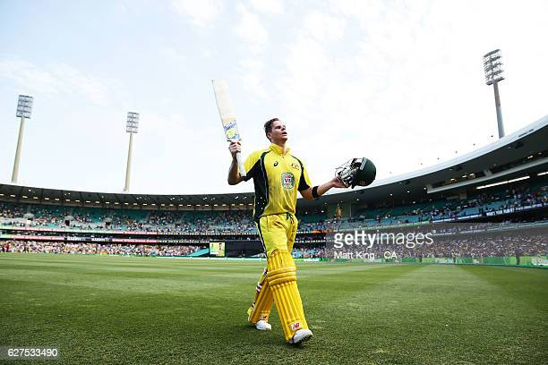 Steve Smith of Australia acknowledges the crowd after being dismissed for 164 during game one of the One Day International series between Australia...