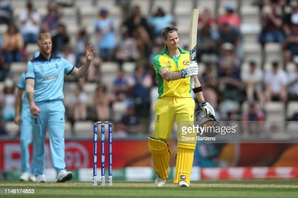 Steve Smith of Australia acknowledges the crowd after reaching his century during the ICC Cricket World Cup 2019 Warm Up match between England and...
