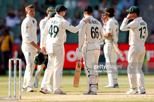 Steve Smith of Australia acknowledges the innings of Tom Blundell of New Zealand at the end of end of day four of the Second Test match in the series...