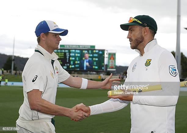 Steve Smith of Australia and Faf du Plessis of South Africa shake hands after day four of the Second Test match between Australia and South Africa at...