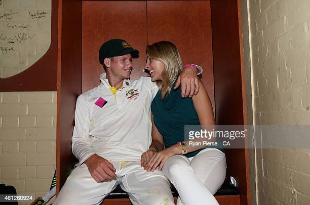 Steve Smith of Australia and his partner Dani Willis pose in the change rooms after during day five of the Fourth Test match between Australia and...