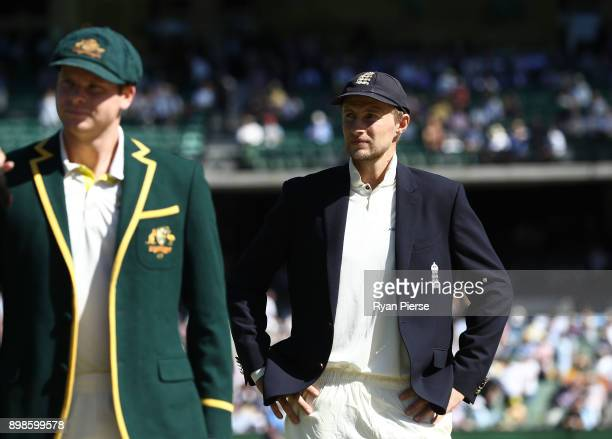 Steve Smith of Australia and Joe Root of England look on at the coin toss during day one of the Fourth Test Match in the 2017/18 Ashes series between...