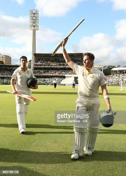Steve Smith of Australia and Mitch Marsh acknowledge the crowd as they walk off at the end of play during day three of the Third Test match during...