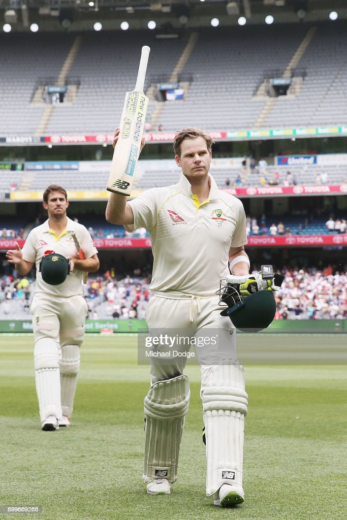Steve Smith of Australia (R) and Mitchell Marsh walk off after the drawn result during day one of the Fourth Test Match in the 2017/18 Ashes series between Australia and England at Melbourne Cricket Ground on December 30, 2017 in Melbourne, Australia.