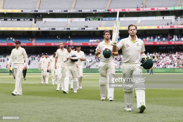 Steve Smith of Australia and Mitchell Marsh walk off after the drawn result during day one of the Fourth Test Match in the 2017/18 Ashes series...