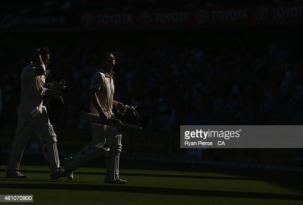 Steve Smith of Australia and Shane Watson of Australia leave the ground at stumps during day one of the Fourth Test match between Australia and India...