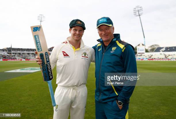 Steve Smith of Australia and Steve Waugh, Former Australian Test Captain and current Australian Team Mentor, pose at stumps after Smith scored his...