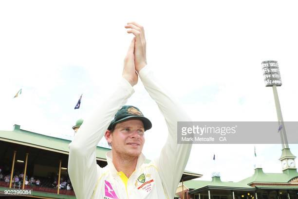 Steve Smith of Australia applauds the crowd after winning the fifth test and series during day five of the Fifth Test match in the 2017/18 Ashes...