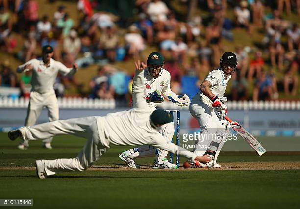 Steve Smith of Australia attempts to catch Brendon McCullum of New Zealand during day three of the Test match between New Zealand and Australia at...