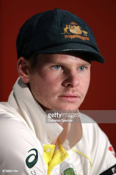 Steve Smith of Australia attends a press conference with team mate Cameron Bancroft during day five of the First Test Match of the 2017/18 Ashes...