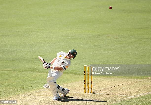 Steve Smith of Australia avoids a bouncer during day one of the Third Ashes Test Match between Australia and England at WACA on December 13 2013 in...