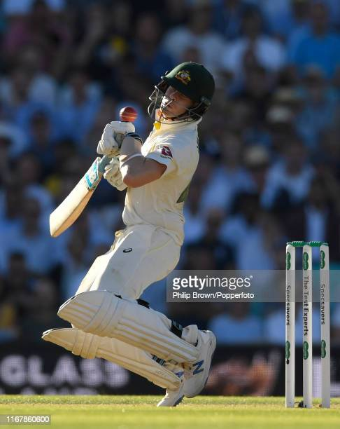 Steve Smith of Australia avoids a bouncer during the fifth Specsavers test match between England and Australia at the Kia Oval Cricket Ground on...