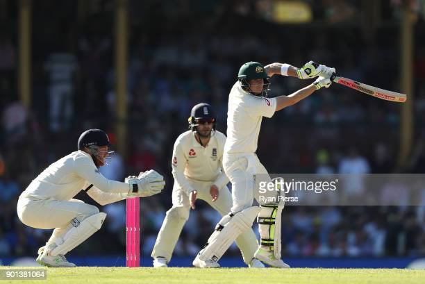 Steve Smith of Australia bats as Jonny Bairstow of England keeps wicket during day two of the Fifth Test match in the 2017/18 Ashes Series between...