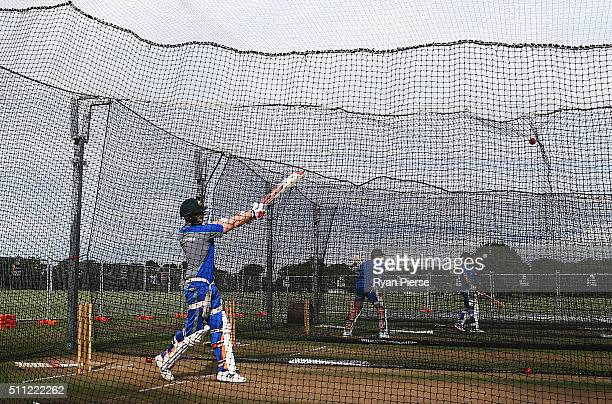 Steve Smith of Australia bats during an Australia nets session at Hagley Oval on February 19 2016 in Christchurch New Zealand