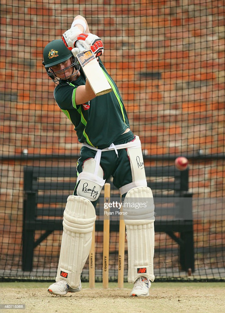 Steve Smith of Australia bats during an Australian Nets Session at The County Ground on August 12, 2015 in Northampton, England.