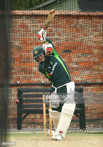 Steve Smith of Australia bats during an Australian Nets Session at The County Ground on August 13 2015 in Northampton England