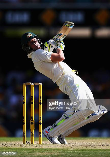 Steve Smith of Australia bats during day four of the 2nd Test match between Australia and India at The Gabba on December 20, 2014 in Brisbane,...