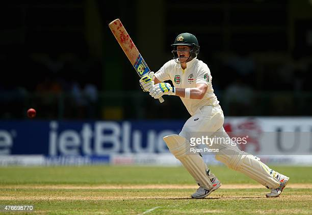 Steve Smith of Australia bats during day one of the Second Test match between Australia and the West Indies at Sabina Park on June 11 2015 in...