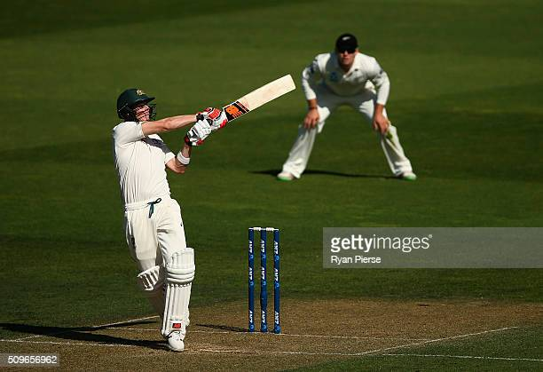 Steve Smith of Australia bats during day one of the Test match between New Zealand and Australia at Basin Reserve on February 12 2016 in Wellington...