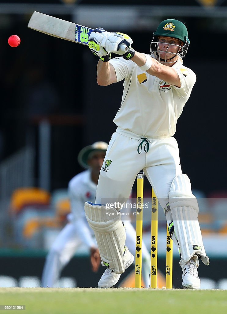 Steve Smith of Australia bats during day three of the First Test match between Australia and Pakistan at The Gabba on December 17, 2016 in Brisbane, Australia.