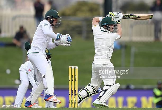 Steve Smith of Australia bats during day three of the Second Test match between Australia and South Africa at Blundstone Arena on November 14 2016 in...