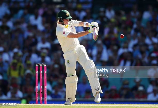 Steve Smith of Australia bats during day two of the Fifth Test match in the 2017/18 Ashes Series between Australia and England at Sydney Cricket...