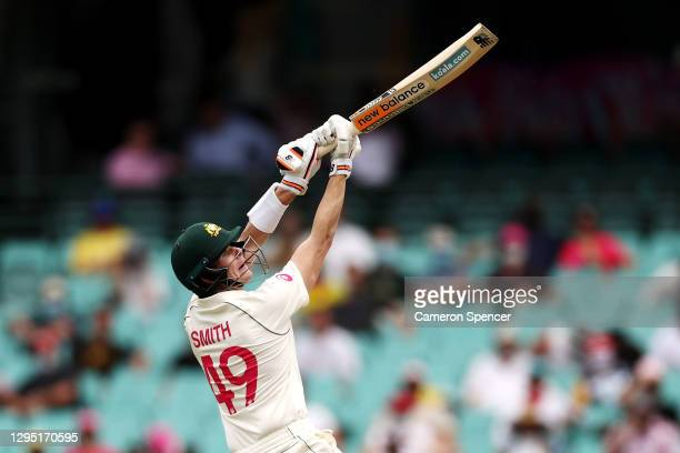 Steve Smith of Australia bats during day two of the Third Test match in the series between Australia and India at Sydney Cricket Ground on January...