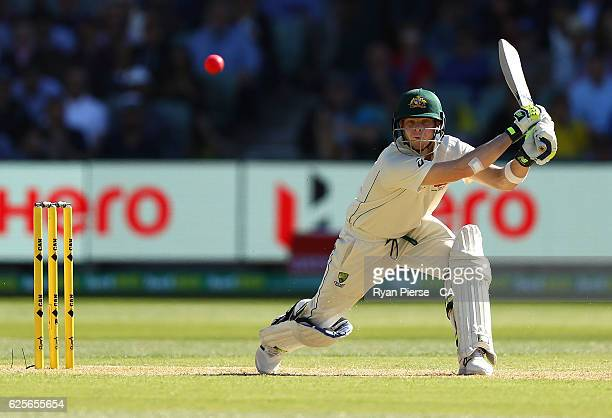 Steve Smith of Australia bats during day two of the Third Test match between Australia and South Africa at Adelaide Oval on November 25 2016 in...
