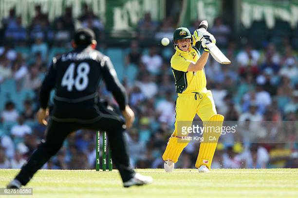 Steve Smith of Australia bats during game one of the One Day International series between Australia and New Zealand at Sydney Cricket Ground on...