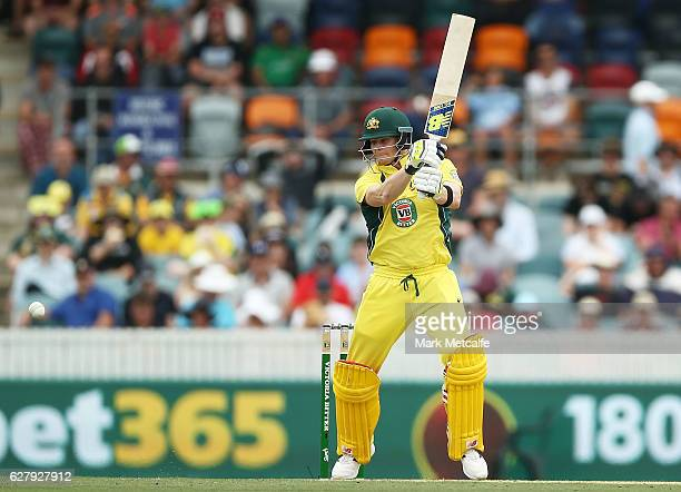 Steve Smith of Australia bats during game two of the One Day International series between Australia and New Zealand at Manuka Oval on December 6 2016...