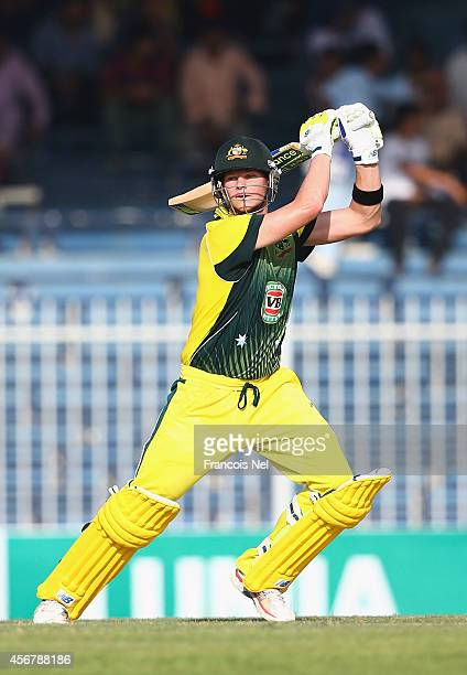 Steve Smith of Australia bats during the first match of the one day international series between Australia and Pakistan at Sharjah Cricket Stadium on...