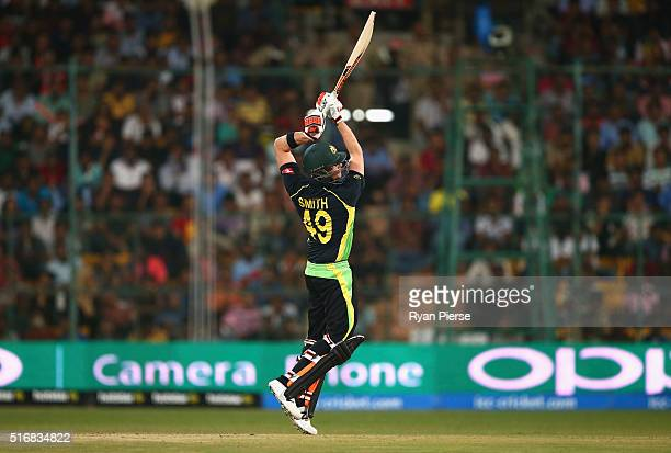 Steve Smith of Australia bats during the ICC World Twenty20 India 2016 Super 10s Group 2 match between Australia and Bangladesh at M Chinnaswamy...