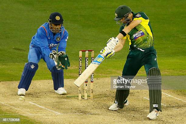 Steve Smith of Australia bats during the One Day International match between Australia and India at Melbourne Cricket Ground on January 18 2015 in...