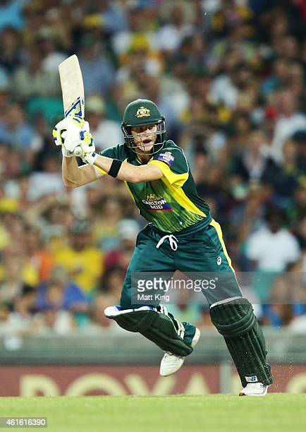 Steve Smith of Australia bats during the One Day International series match between Australia and England at Sydney Cricket Ground on January 16 2015...
